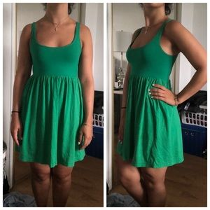 Theory Green Scoop Neck Thin Strapped Dress